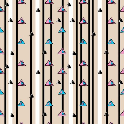 Stripes line with hand drawn triangle seamless pattern