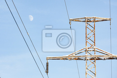 Stromleitungen löschen blauen himmel und mond im winter notebook ...