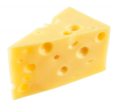 Sticker Stück Käse isoliert. Mit Ausschnittspfad.