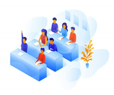 Students in classroom vector color illustration