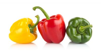 Sticker Studio shot of red,yellow,green bell peppers isolated on white