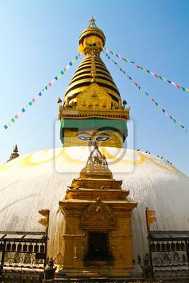 Stupa von Swayambhunath Tempel mit blauer Himmel in Kathmandu, Ne