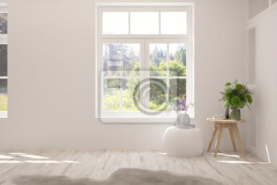 Sticker Stylish empty room in white color with summer landscape in window. Scandinavian interior design. 3D illustration