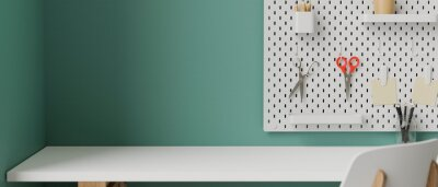 Sticker Stylish working space with white table, supplies, tools and stationery on shelf decorated on turquoise wall, 3D rendering