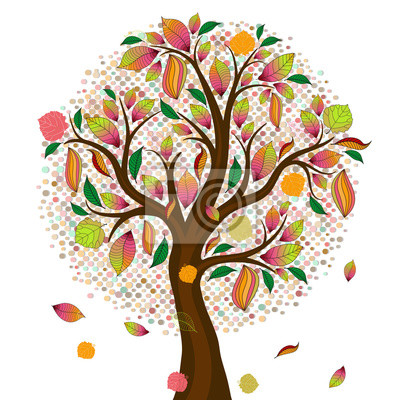 Stylized autumn tree with colorful leaves and fruits