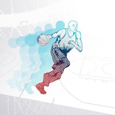 Sticker Stylized Basketballspieler, der den Ball dribbelt