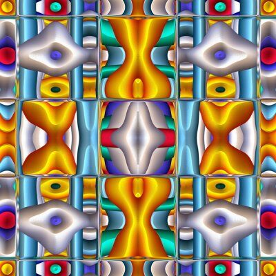 Sticker Stylized Ceramic Tile. Multicolor mosaic ornament. Excellent Modern Pattern. Ceramic tableware, wooden puzzle. Ethnic background. Stained-glass window style. Wallpaper from color ornaments and border.