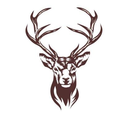 Sticker Stylized deer head vector illustration