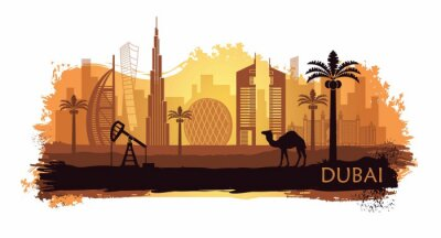 Stylized kyline of Dubai with camel and date palm with spots and splashes of paint. United Arab Emirates