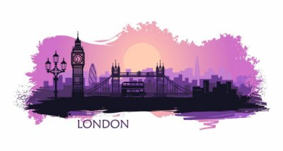 Sticker Stylized landscape of London with big Ben, tower bridge and other attractions
