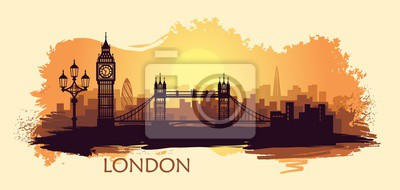 Stylized landscape of London with with big Ben, tower bridge and other attractions
