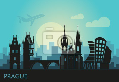 Stylized landscape of Prague with the main sights at sunset