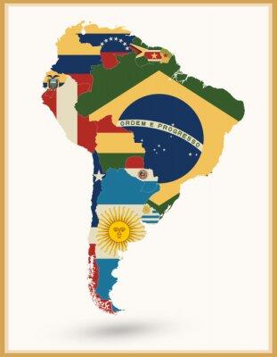 Sticker Südamerika Karte Mit Flaggen Und Vintage Farben