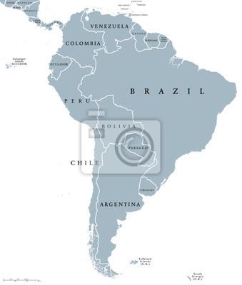 Südamerika Karte Ohne Beschriftung.Sticker Südamerika Länder Politische Karte Mit Nationalen Grenzen Kontinent