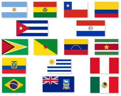 Sticker Südamerikanische Flaggen-Set