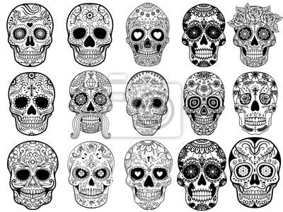 Sticker Sugar skulls Set Vector Illustration