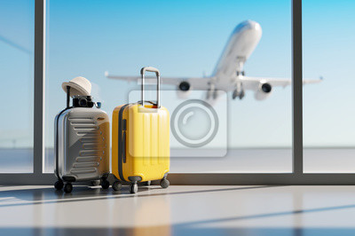 Sticker Suitcases in airport. Travel concept. 3d rendering