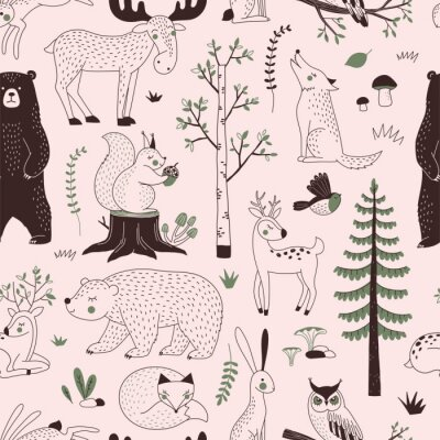 Summer Forest seamless vector pattern. Woody landscape with Bear Deer Hare Wolf Moose Fox Owl Squirrel creatures repeatable background. Woodland childish print in Scandinavian decorative style. Cute