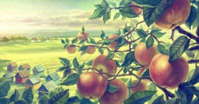 Sticker  Summer landscape with apple branches. Digital paint.