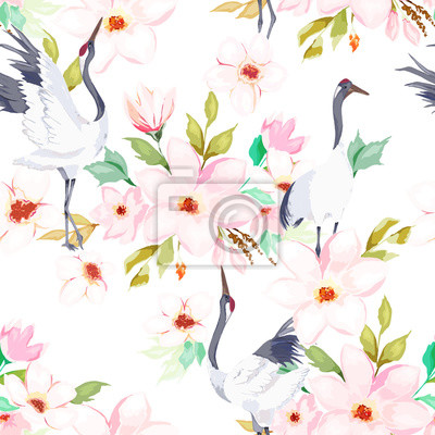 Summer seamless pattern. Floral print with cranes. Watercolor style. Vector illustration