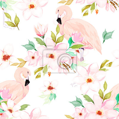 Summer seamless pattern. Floral print with flamingo. Watercolor style. Vector illustration