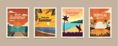 Sticker Summer tropical cards. Vacation posters in retro style. Backgrounds with summer tropical leaves, landscapes, sunsets and nature graphics