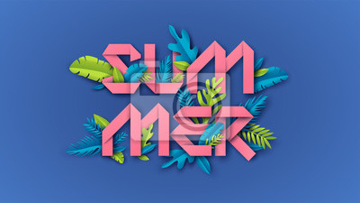 Summer typography design with paper cut design and tropical leaves is an element on colorful background. paper cut and craft style. vector, illustration.