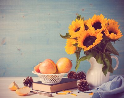 Sticker Sunflowers bouquet in white vase with apples