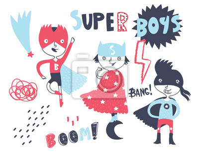 Super hero boys. Hand drawn vector set. All elements are isolated