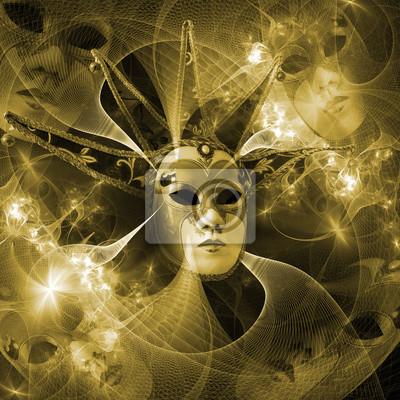 Surreale Karnevalsmaske und Fraktalmuster aus einem Raster und leuchtend leuchtenden Lichtern.