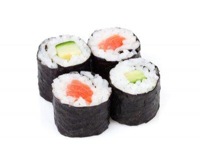 Sticker Sushi Maki mit Lachs und Gurke gesetzt