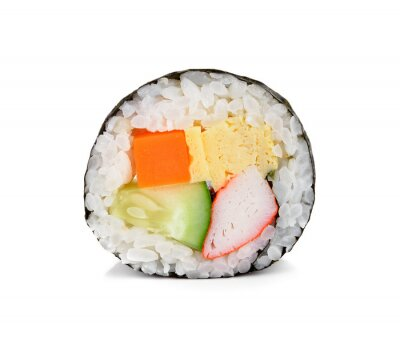 Sticker Sushi-Rolle isoliert auf weiß.