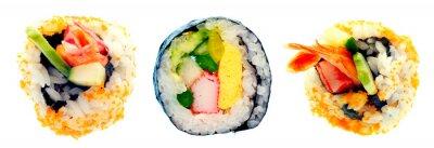 Sticker Sushi-Rolle mit Reis isoliert auf weißem Hintergrund