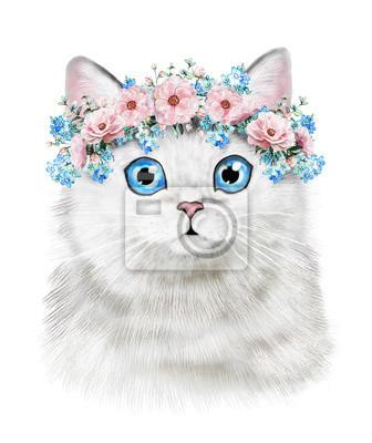 Süße Katze. Aquarell-Katzeabbildung. T-Shirt Druck. Grußkarte. Kätzchen. Isolierte Katze