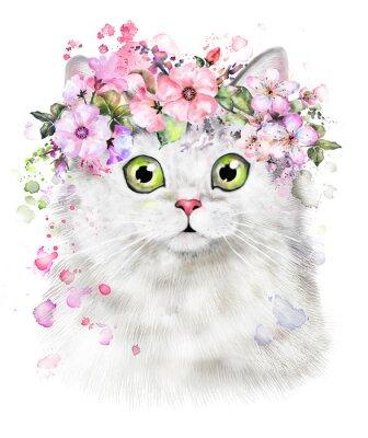 Süße Katze. Aquarell-Katzeabbildung. T-Shirt Druck. Grußkarte. Kätzchen. Kranz der Blume und spritzen Farbe. Isolierte Katze