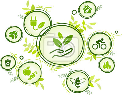 Sticker sustainability icon concept: environment, green energy, recycling, conservation of resources – vector illustration
