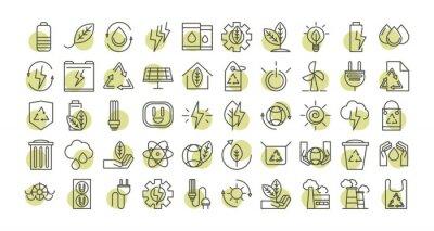 Sticker sustainable energy alternative renewable ecology icons set line style icon