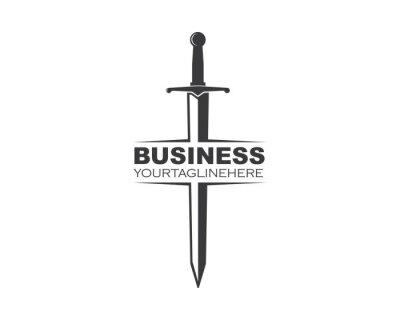 Sticker sword logo icon vector illustration design