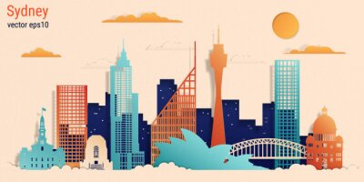 Sydney city colorful paper cut style, vector stock illustration. Cityscape with all famous buildings. Skyline Sydney city composition for design.