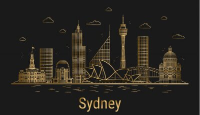 Sydney city line art, golden architecture vector illustration, skyline city, all famous buildings.