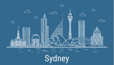 Sydney city, Line Art Vector illustration with all famous towers. Linear Banner with Showplace, Skyscrapers and hotels. Composition of Modern buildings, Cityscape. Sydney buildings set.
