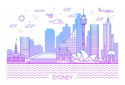 Sydney city, Purple Line Art Vector illustration with all famous towers. Linear Banner with Showplace, Skyscrapers and hotels. Sydney buildings set. White background and pink line.