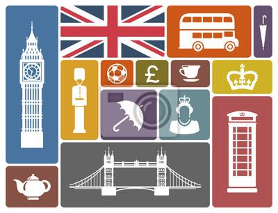 Symbole von England und London im Retro-Stil