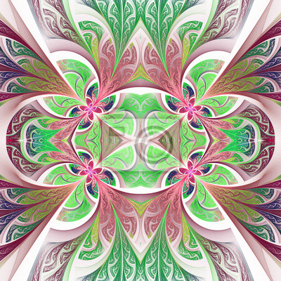 Symmetrical flower pattern in stained-glass window style. Green and purple palette. Artwork for creative design, art and entertainment.