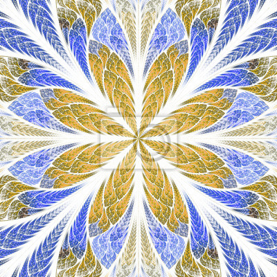 Symmetrical fractal flower in stained-glass window style. Blue a