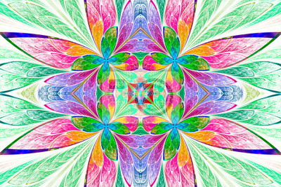 Symmetrical multicolored flower pattern in stained-glass window style on light.  Computer generated graphics.