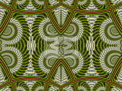 Sticker Symmetrical Pattern from Spiral fractal. Gray and brown palette.