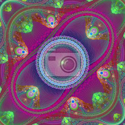 Symmetrische Gitter fraktale Muster. Blaue und lila Palette. Compu