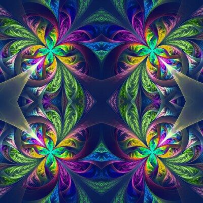 Sticker Symmetrische mehrfarbige fraktale Maßwerk. Sammlung - frostig patt