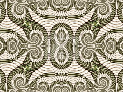 Symmetrische Muster von Spiral Fractal. Grau und grün-Palette.